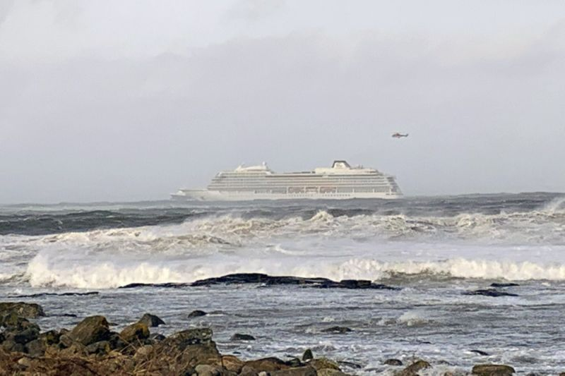 The cruise ship Viking Sky after it sent out a Mayday signal because of engine failure in windy conditions off the west coast of Norway, Saturday March 23, 2019.  The Viking Sky is forced to evacuate its 1,300 passengers. (AP)
