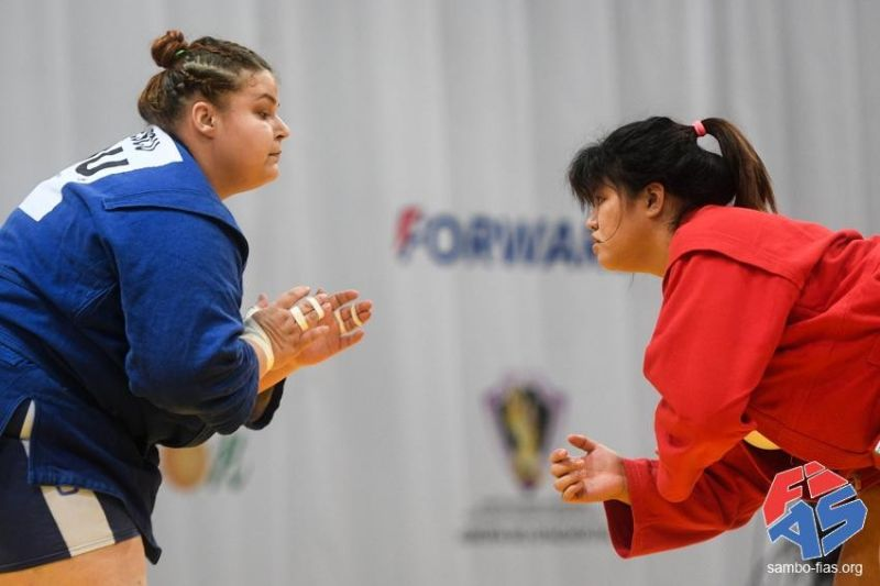 RUSSIA. Alina Petronela Paunescu of Romania, left, and Sydney Sy Tancontian of the Philippines study each other during the preliminary round of the 2019 Sambo World Cup Kharlapiev Memorial Competition in Moscow, Russia over the weekend. The Dabawenya Tancontian won this one. (Sambo-Fias.Org)