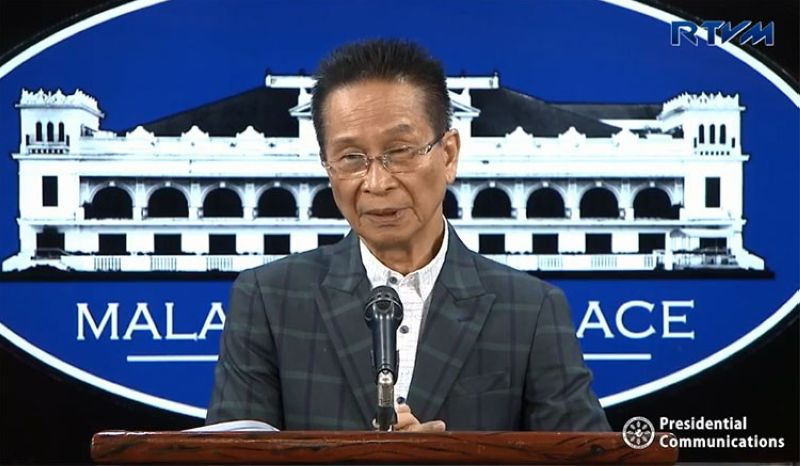 MANILA. Presidential Spokesperson Salvador Panelo in a press briefing in Malacanang on March 26, 2019. (Screenshot from RTVM video)