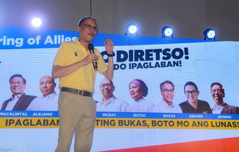 CEBU. Former president  Benigno Aquino III at  the Otso Diretso campaign sortie at the IC3 Pavillion in Cebu City Tuesday night, March 26. (Arni Aclao)