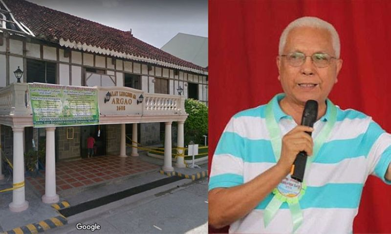 CEBU. Facade of Argao municipal hall (left) and Jun Evasco, a candidate for Bohol governor. (Photos from Google Street View and Evasco's Facebook page)