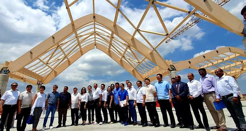 PAMPANGA. Senators JV Ejercito, Joel Villanueva, Finance Secretary Sonny Dominguez III, Department of Transportation Secretary Arthur Tugade, Bases Conversion and Development Authority president Vince Dizon, CDC president Noel Manankil, CIAC President Jaime Melo, PamCham Chairman Emeritus Levy P. Laus, R-II Builders Chairman Dr. Reghis Romero II, Tarlac Gov. Susan Yap, officials of MegaWide, Lipad and Filinvest led the inspection of the Clark International Airport Terminal 2 Expansion Project on Wednesday, March 27. (Chris Navarro)