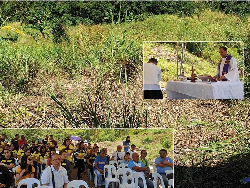 BACOLOD. Rev. Fr. Romeo Tumonong (right, inset) officiates the mass held near the accident site at KM 042 in Sitio Talos, Barangay Igmaya-an, Don Salvador Benedicto. This was where Ceres Bus 558 figured in an accident last March 25 that claimed the lives of four passengers and wounded eight others. (Left inset) Vallacar Transit Inc. officials and employees, along with other guests, attend a mass held at the site of the accident. (Carla N. Cañet)