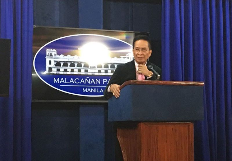 MANILA. Presidential Spokesperson Salvador Panelo in a press briefing in Malacanang on Friday, March 29, 2019. (Ruth Abbey Gita)