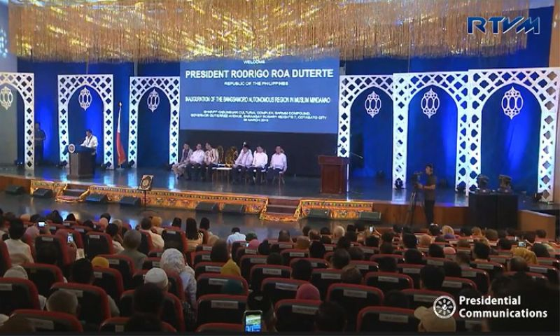 COTABATO. President Rodrigo Duterte leads Friday, March 29, 2019, the inaugural ceremony of the historic passage of the Bangsamoro Autonomous Region in Muslim Mindanao (Barmm) at the Shariff Kabunsuan Cultural Complex in Cotabato City. (Screenshot from Presidential Communications video)