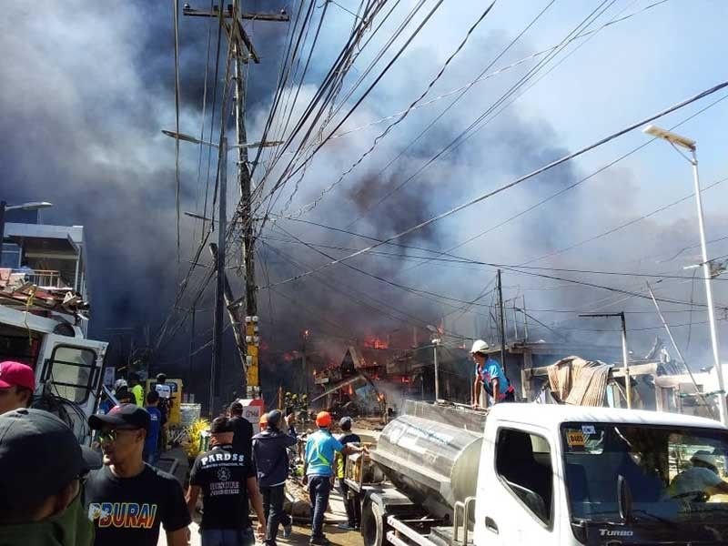 AKLAN. A fire burns several commercial establishments in Boracay Island Friday, March 29, 2019. (Jun N. Aguirre)