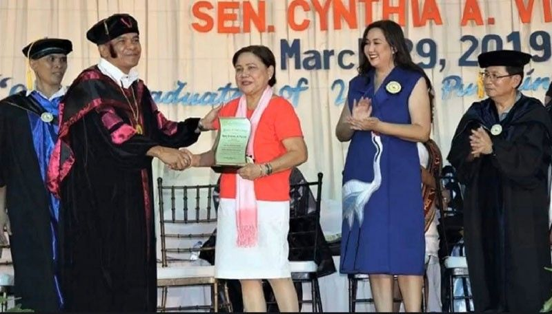 BACOLOD. Senator Cynthia Villa (middle) attends the graduation ceremony at Central Philippines State University. (Contributed photo)