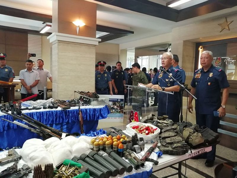 MANILA. The Philippine National Police presents to media during a press conference Monday, April 1, 2019, the items seized from the Cariaga brothers in Baggao, Cagayan. (Third Anne Peralta-Malonzo)