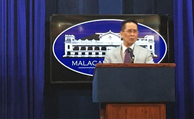 MANILA. Presidential Spokesperson Salvador Panelo in a press briefing in Malacanang on Monday, April 1, 2019. (Ruth Abbey Gita)