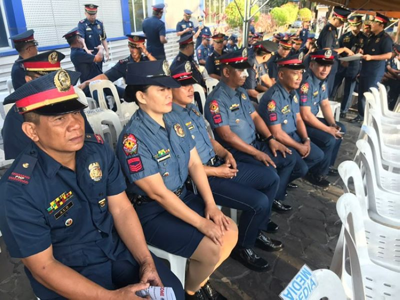 MANILA. Personnel of the Victoria Municipal Police Station in Northern Samar who successfully defended their post from communist rebels receive an award from the Philippine National Police on Monday, April 1, 2019. (Third Anne Peralta-Malonzo)