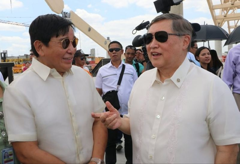PAMPANGA. Finance Secretary Sonny Dominguez III discusses the ongoing new Clark Terminal 2 project with Dr. Reghis M. Romero II, chairman of the board of R-II Builders Inc. during the recent site inspection. (Chris Navarro)