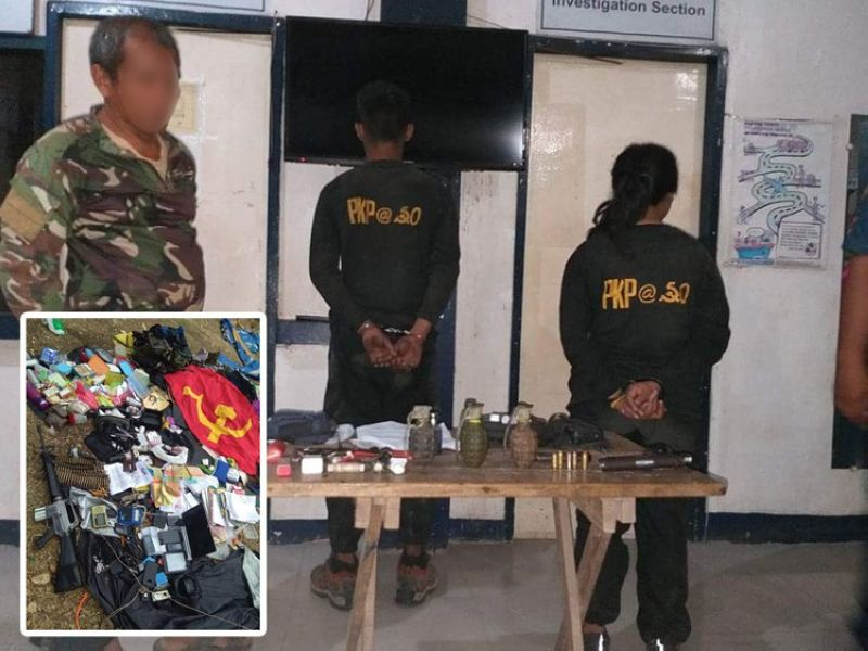 NEGROS. Military troops arrest Abraham Villanueva (left), alleged New People's Army leader, along with Jomar Villarojo (center) and Rona Magbanua, following a clash in Barangay Tampalon, Kabankalan City, Negros Oriental. Seized from the alleged rebels were an M16 rifle, assorted ammunition, electronic devices, subversive documents and other personal belongings (inset). (Contributed photo)