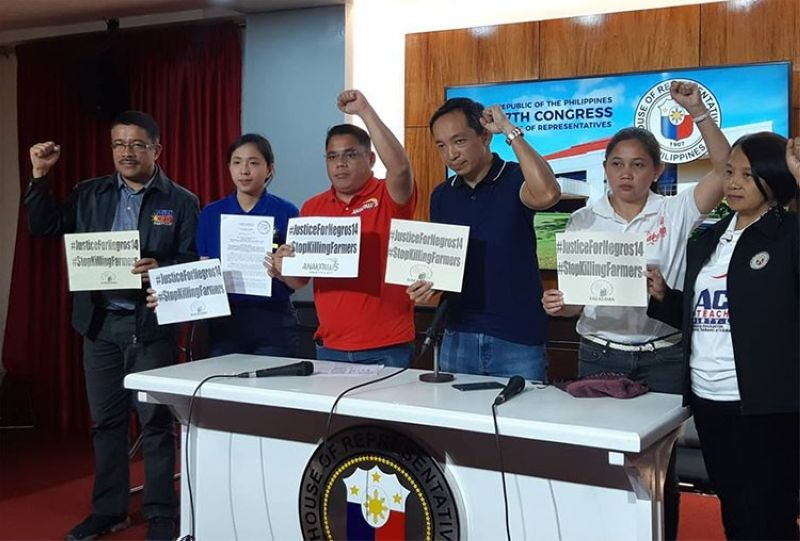 MANILA. Members of the Makabayan bloc of the House of Representatives call for an investigation on the killing of 14 persons in Negros Oriental. (Photo from Bayan Muna Facebook page)