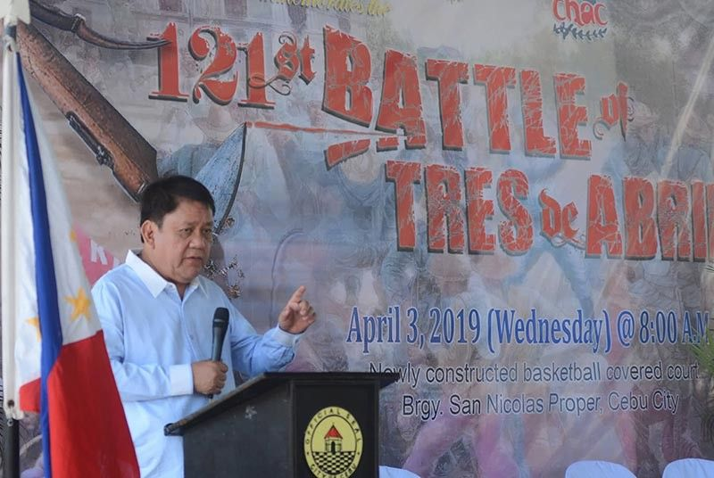 THEY DIED FOR US. Cebu City Mayor Tomas Osmeña praises the Cebuano Katipuneros for their bravery during the 121st anniversary of the Tres de Abril uprising. (SunStar photo / Amper Campaña)