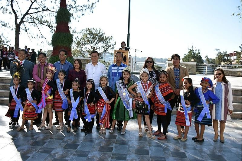 BAGUIO. Baguio City officials led by Mayor Mauricio Domogan and Congressman Mark Go recognized the winners of the Little Miss Panagbenga during the Monday Flag ceremony at the Baguio City Hall grounds. (Photo by Redjie Melvic Cawis)