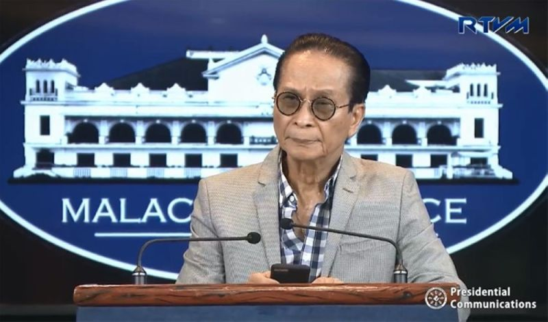 MANILA. Presidential Spokesperson Salvador Panelo in a press briefing in Malacanang on Thursday, October 18, 2018. (Screenshot from Presidential Communications' Facebook page)