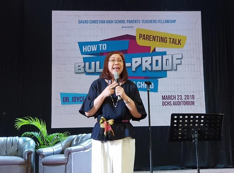 "DAVAO. The Davao Christian High School Parents-Teachers Fellowship recently organized the ""How to Bully-Proof Your Child"" parenting talk by Dr. Joyce Piap-Go at the DCHS (V. Mapa Campus) Auditorium. (Contributed Photo)"