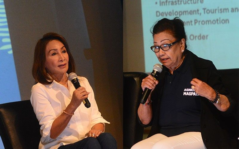 CEBU POLITICS. In two separate fora, Rep. Gwen Garcia (left) and Vice Gov. Agnes Magpale (right) talk about Capitol issues that were raised during the Mega Cebu candidates' forum. Garcia and Magpale are running for Cebu governor. (Sunstar Photo/Amper Campaña)