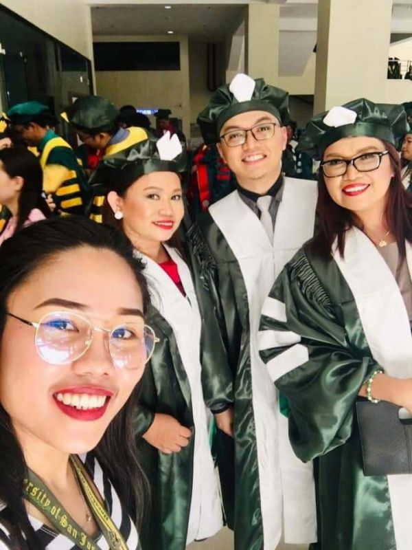 GRADUATION. The Commission on Higher Education scholars in PhD English and PhD Literature during their graduation at the University of San Jose-Recoletos. They were all my brilliant students.