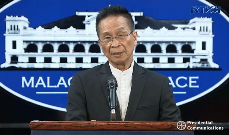 MANILA. Presidential Spokesman Salvador Panelo in a press briefing in Malacanang Monday, April 8, 2019. (Screenshot from RTVM video)