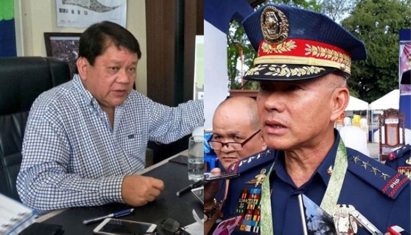 CEBU. Philippine National Police (PNP) Chief Oscar Albayalde (right) is not worried over threats made by Cebu City Mayor Tomas Osmeña that he would withhold the allowances for police officers assigned in his city. (SunStar file photo)