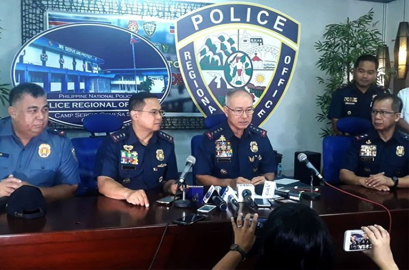 CEBU. Philippine National Police Chief Oscar Albayalde leads a press conference on updates on Christine Lee Silawan killing on Thursday, April 11, 2019. (Alan Tangcawan)