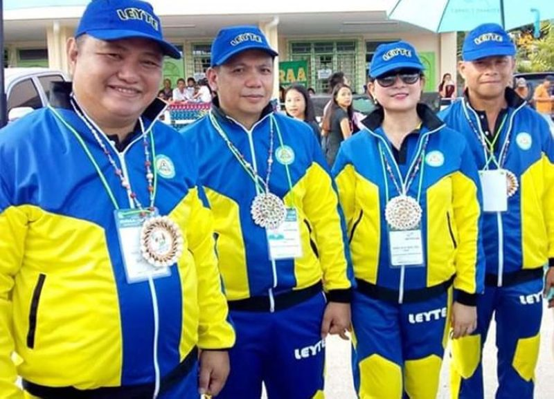 ORMOC CITY. (From L-R) The Leyte delegation headed by Schools Division Superintendent Ronelo Al Firmo, Assistant Superintendents Edgar Tenasas and Marilyn Siao, and Athletic Manager Raul Salano during the 2019 Evraa meet in Ormoc City. (Photo courtesy of Allison Kevin Rhossan Junio)