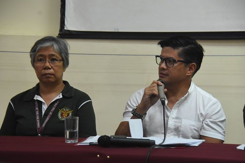 DAVAO. University of the Philippines (UP) vice chancellor for administration Aurelia Luzviminda Gomez, left, and Davao City's Sports Development Division of the City Mayor's Office (SDD-CMO) officer-in-charge Mikey Aportadera give updates on the facilities and city's hosting preparations for the the upcoming Palarong Pambansa 2019 during a media briefing at the UP Mindanao Friday, April 12, 2019. (Photo by Ralph Lawrence G. Llemit)