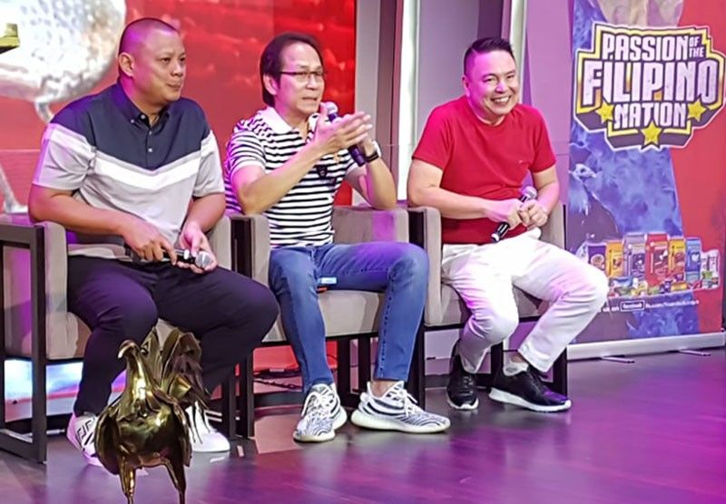 "PAMPANGA. (L-R) Promoters Eric Dela Rosa, Charlie ""Atong"" Ang and Gerardo Ramos answer questions from the media during a press conference for the World Pitmaster Cup 2019 9-cock International derby slated on April 21 to 30. The press conference was held Friday, April 12, at Resorts World Manila. (Chris Navarro)"