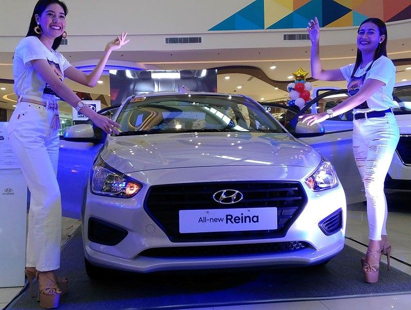 TACLOBAN. Hyundai's new car model Reina being unveiled in Tacloban City on April 12. (Photo by Ronald O. Reyes)