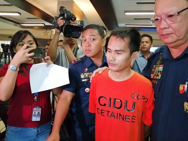 MANILA. Abuhair Kullim Indal, a suspected member of the Abu Sayyaf Group who was arrested in Quezon City, was presented to media Monday, April 15, in Camp Crame. (Third Anne Peralta-Malonzo)