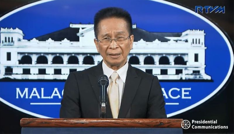 MANILA. Presidential Spokesperson Salvador Panelo in a press briefing in Malacanang. (Screenshot from RTVM video)