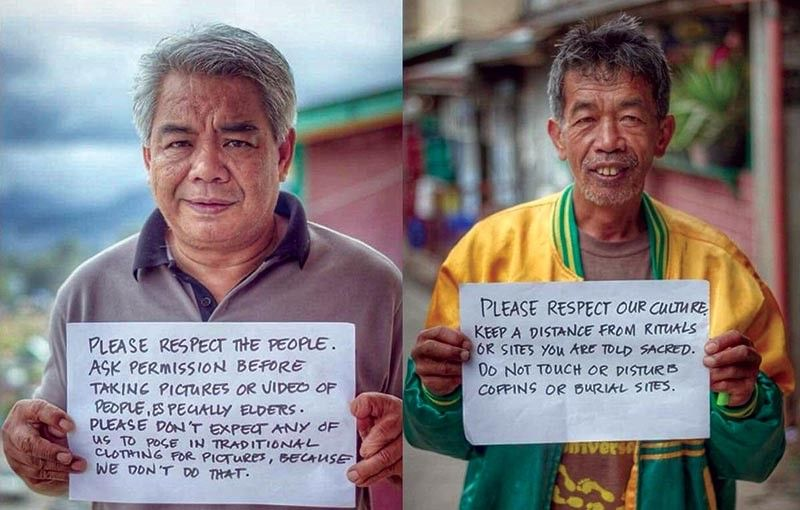 SAGADA. Sagada Mayor James Pooten (left), together with some locals, post on social media the do's and don'ts when visiting the town. (Sagada LGU Photo)