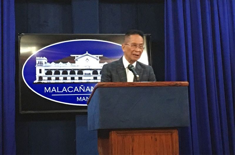 MANILA. Presidential Spokesperson Salvador Panelo in a press briefing in Malacanang Tuesday, April 16, 2019. (Ruth Abbey Gita)