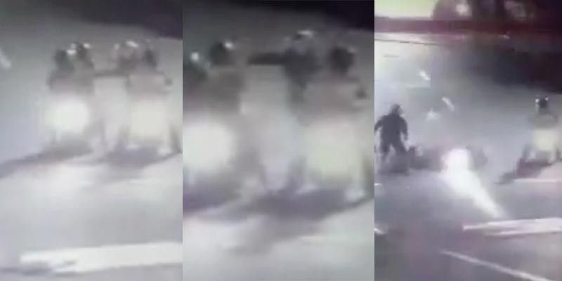 SHOOTING. Closed circuit television (CCTV) footage shows the shooting of the Canes couple by two men aboard a motorcycle in Barangay Ibabao, Mandaue City at 11 p.m. of April 14, Sunday. Their nine-year-old daughter, who was on the motorcycle with them, was unharmed. The footage, however, shows only silhouettes, and identifying the perpetrators might prove to be difficult. (Alan Tangcawan)