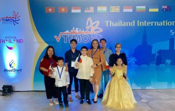 THAILAND. The Filipino kids gold medalists together with their parents during the awarding ceremony. (Kara Asuncion)