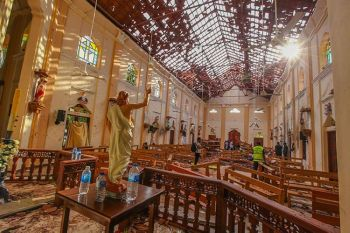 SRI LANKA. A view of St. Sebastian's Church damaged in blast in Negombo, north of Colombo, Sri Lanka, Sunday, April 21, 2019. (AP)