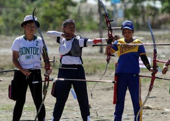 APAYAO. Aside from combative sports, Cordillera archers will also be marked by other competitors from other regions in the upcoming Palarong Pambansa. Here, archer Charmaine Angela Villamor (center) of Baguio City competes during the Caraa 2019 held in Apayao. (Roderick Osis)