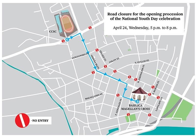 ROAD CLOSURE. This stretch of Osmeña Blvd. in Cebu City will be closed to traffic on Wednesday, April 24, from 5 to 8 p.m. (SunStar graphics / John Gilbert Manantan)