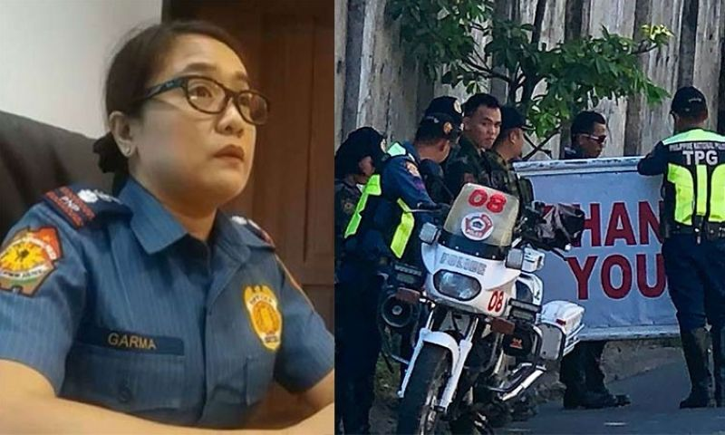CEBU. Cebu City Police Office Chief Royina Garma (left) and cops outside the house of Cebu City Mayor Tomas Osmeña. (SunStar File/Photo from Osmeña's Facebook page)