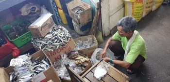 CAGAYAN DE ORO. A vendor prepares kilos of dried fish that are sold from P120 to P196 a kilogram inside the Cogon market. (Nef Luczon)