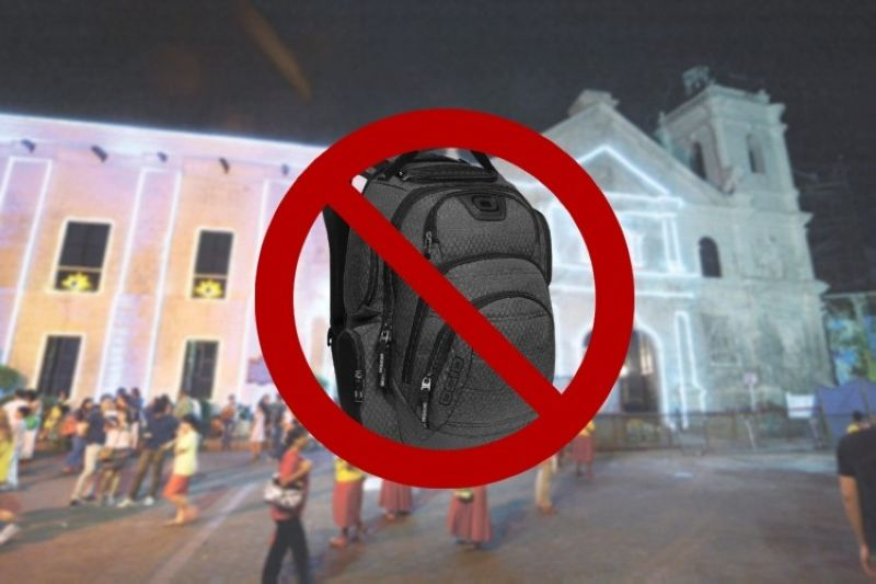 "CEBU. Authorities will implement the ""no backpack policy"" inside the Basilica Minore del Sto. Niño for the opening mass of the National Youth Day. (File Photo)"