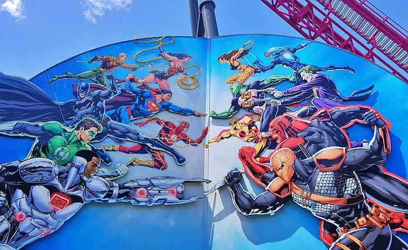 Movie Theme Parks are rare outside the US, but Warner Bros. Movieworld is one. This board shows the park's great theming with DC superheroes facing their respective arch enemies. (Crystal Neri)
