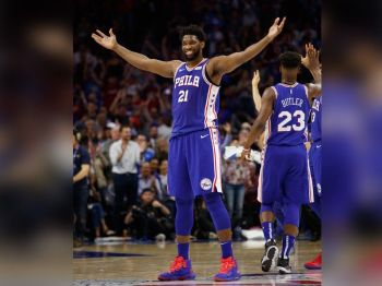 Philadelphia 76ers' Joel Embiid, of Cameroon, reacts to his basket during the first half in Game 5 of a first-round NBA basketball playoff series against the Brooklyn Nets, Tuesday, April 23, 2019, in Philadelphia.  <b>(AP)</b>