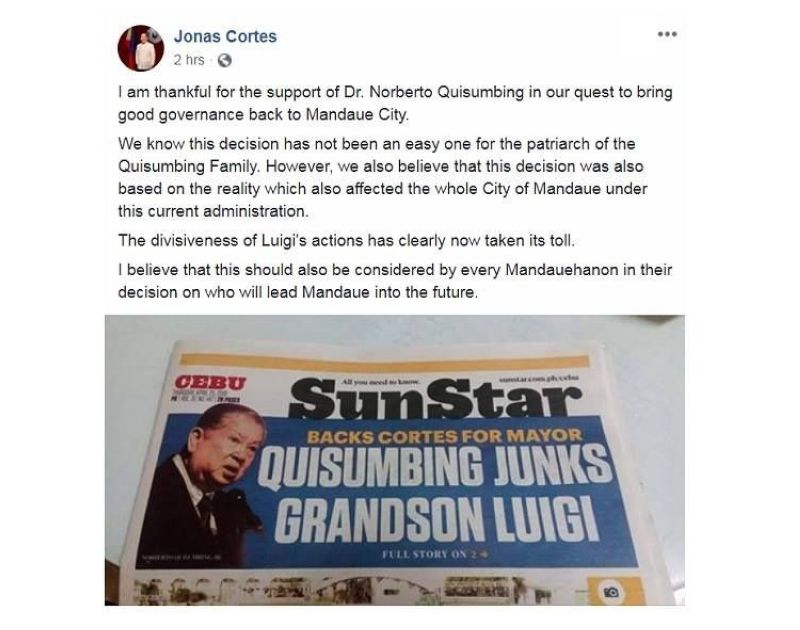 CEBU. On his Facebook page, Cebu 6th District Rep. Jonas Cortes thanked Dr. Norberto Quisumbing for junking his grandson, Mayor Luigi Quisumbing, and supporting his bid for mayor. The Quisumbing patriarch has been in a rift with his grandson since last year. (Screengrab from Jonas Cortes Facebook page)