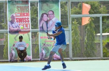 PANABO CITY. With a shoulder fully recovered from injury last year, men's defending champion Johnny Arcilla is in tip-top shape to beat Leander Lazaro, 6-2, 6-4, to grab his third straight win yesterday in the 3rd James Gamao Invitational Tennis Tournament in Panabo City Thursday, April 25, 2019. (Angelee Celine Diong/Flot Group)