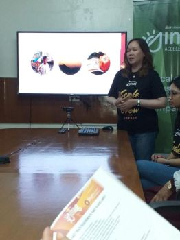 DAVAO. Maria Teresa Calalang, BPI Foundation associate director, talks about this year's BPI Sinag Accelerate. (Contributed photo)