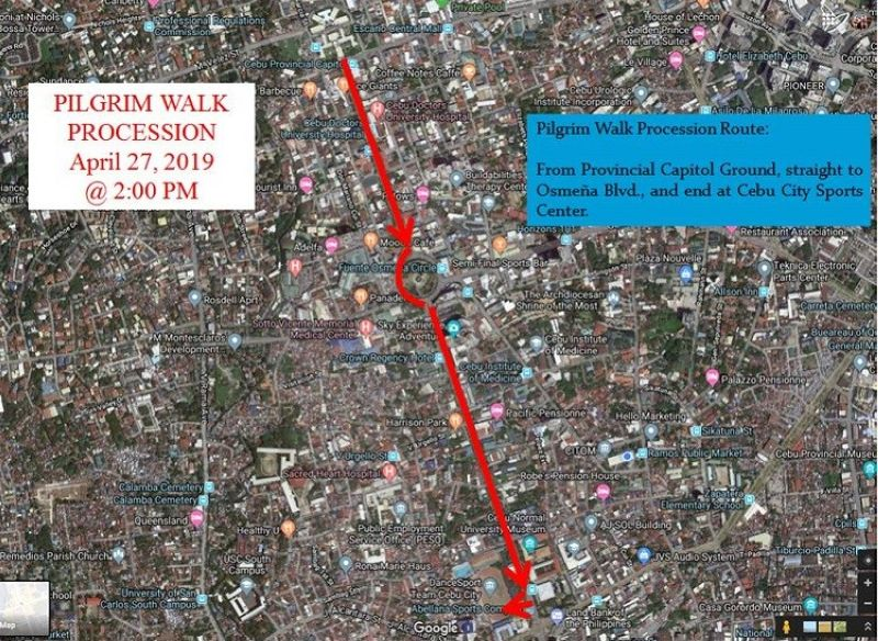CEBU. Vehicular traffic will be re-routed temporarily on the affected streets on the half-closure of Osmeña Boulevard for the Nation Youth Day 2019 pilgrim walk. (Photo courtesy of Cebu City Transportation Office)