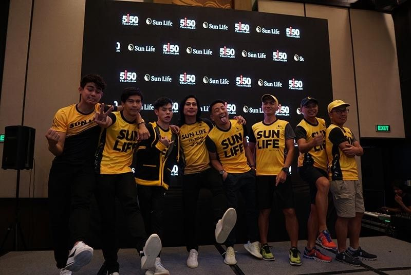 CROWD-DRAWER. Fans of actor and triathlete Piolo Pascual (center) will get a chance to see the actor up close in the Sun Life 5150 in the City of Naga this Sunday. (Contributed photo)