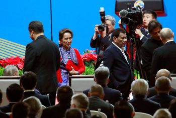CHINA. Myanmar leader Aung San Suu Kyi (second left) and Philippines President Rodrigo Duterte (center) walk past Chinese President Xi Jinping (left) as they arrive for the opening ceremony of the second Belt and Road Forum for International Cooperation (BRF) in Beijing Friday, April 26, 2019. (AP)